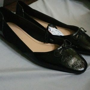 Zara trafaluc patent leather and suede flats
